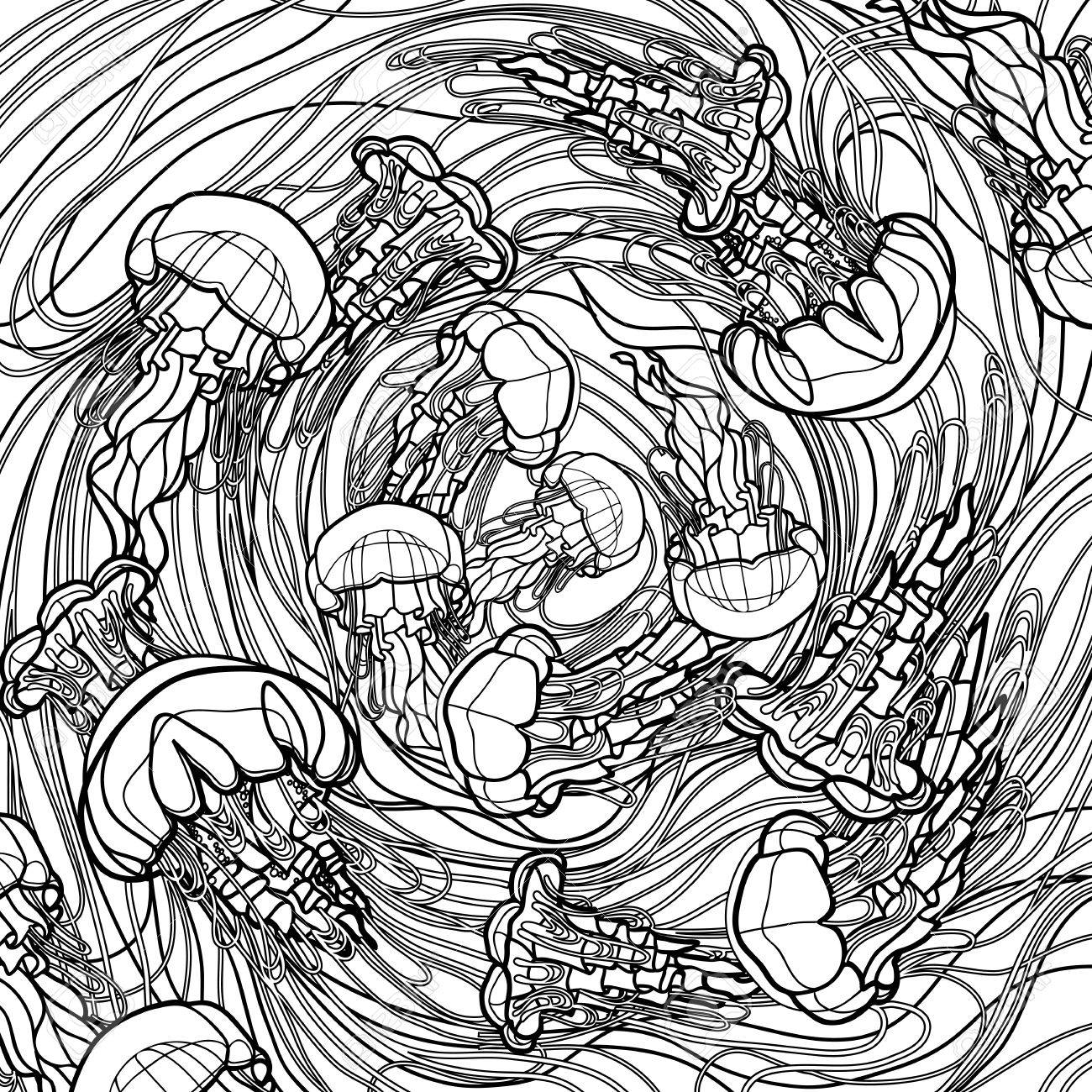 1300x1300 Swirl Of Jellyfish Drawn In Line Art Style. Ocean Card In Black