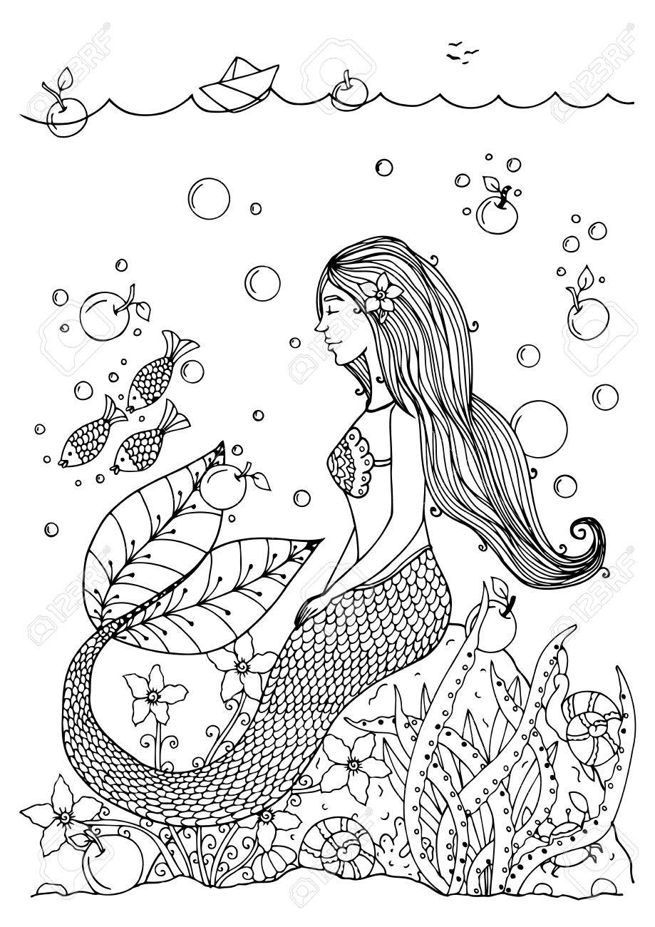 919x1300 Vector Illustration Zentangl Mermaid In The Ocean With Apples