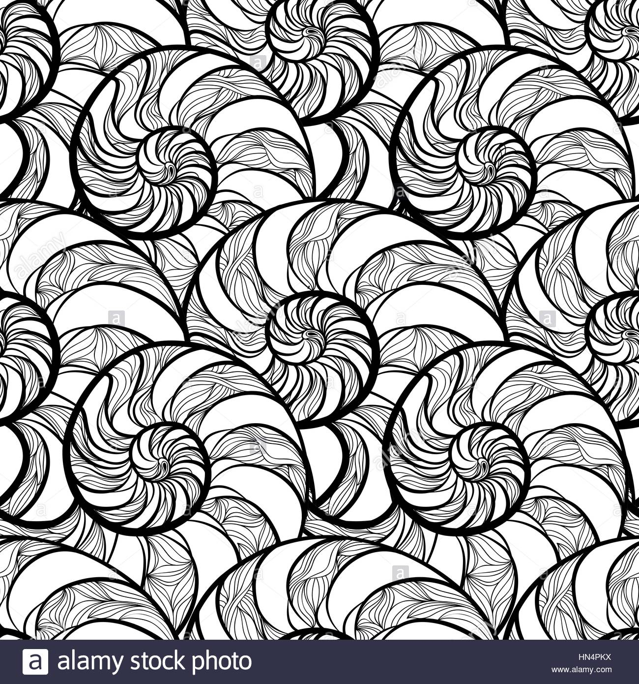 1300x1390 Abstract Ornamental Spiral Seamless Black And White Outline