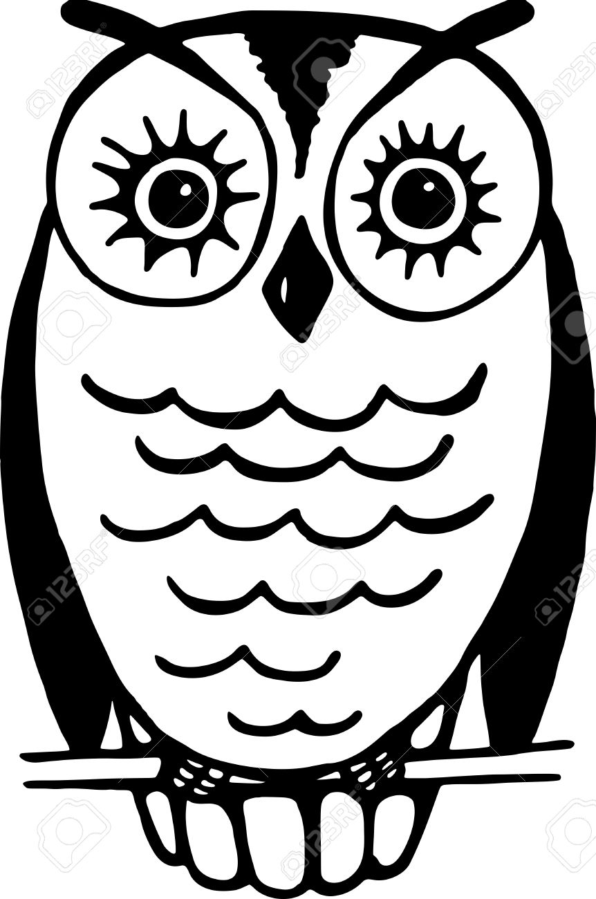 862x1300 Simple Black And White Line Drawing Of An Owl Resting On A Wire
