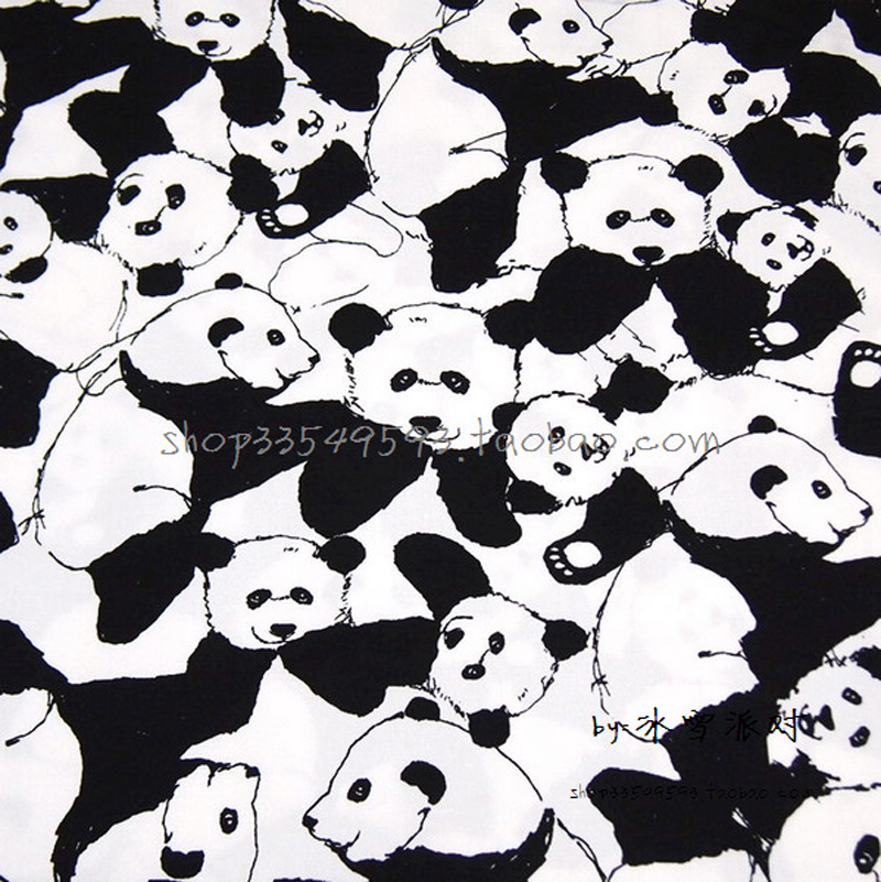 800x801 14050cm 1pc Blackwhite Cotton Fabric Panda Fabric Telas