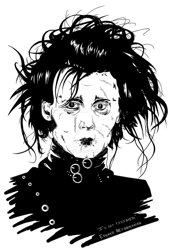 748x1069 Edward Scissorhands Black N White Portrait. By Diy Zonart