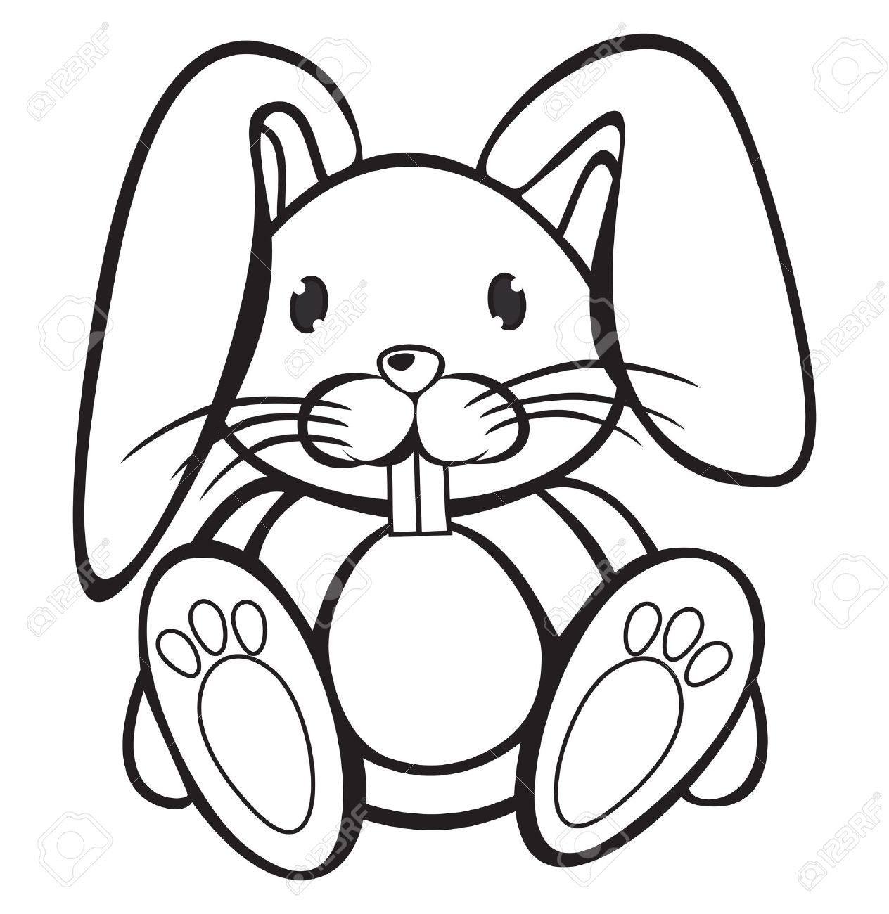 1264x1300 Cute Rabbit Black White Royalty Free Cliparts, Vectors,