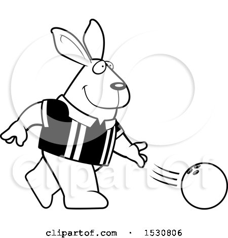 450x470 Clipart Of A Cartoon Black And White Rabbit Bowling