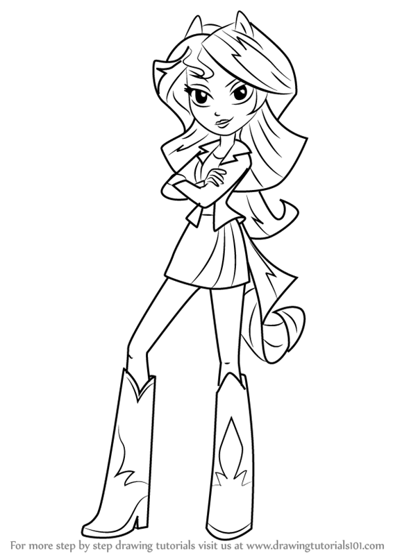 566x800 Step By Step How To Draw Sunset Shimmer Human From My Little Pony
