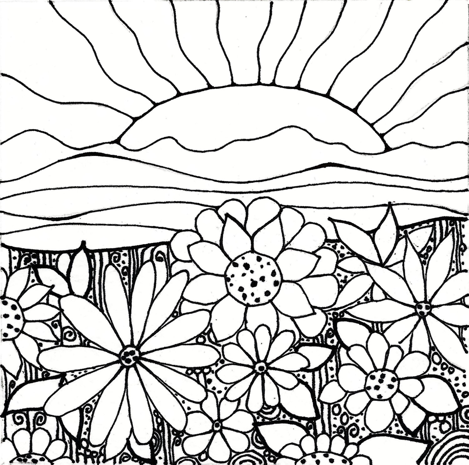 1500x1485 Sunset Coloring Pages