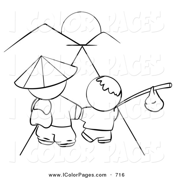 600x620 Vector Coloring Page Of A Black And White Human Factor Chinese