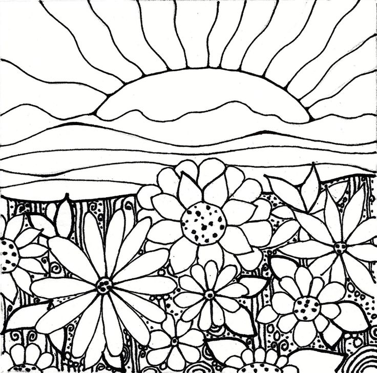 Black And White Sunset Drawing At Getdrawings Com Free For