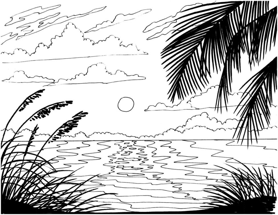 974x753 Adult Sunset Coloring Pages Printable Tags Sunset Coloring Pages