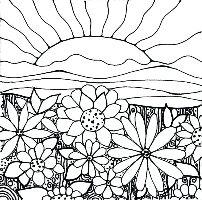 698x692 Best Sunset Coloring Pages Fee Kids Drawing And Striking Color