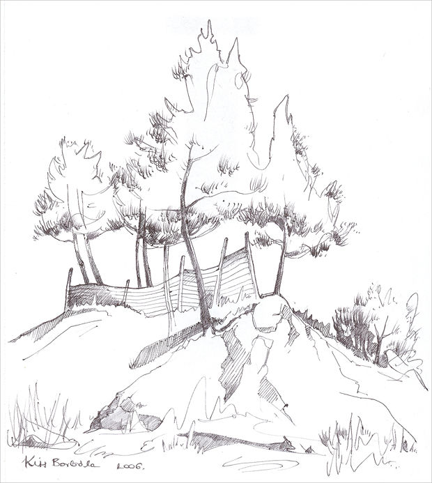 Black And White Trees Drawing
