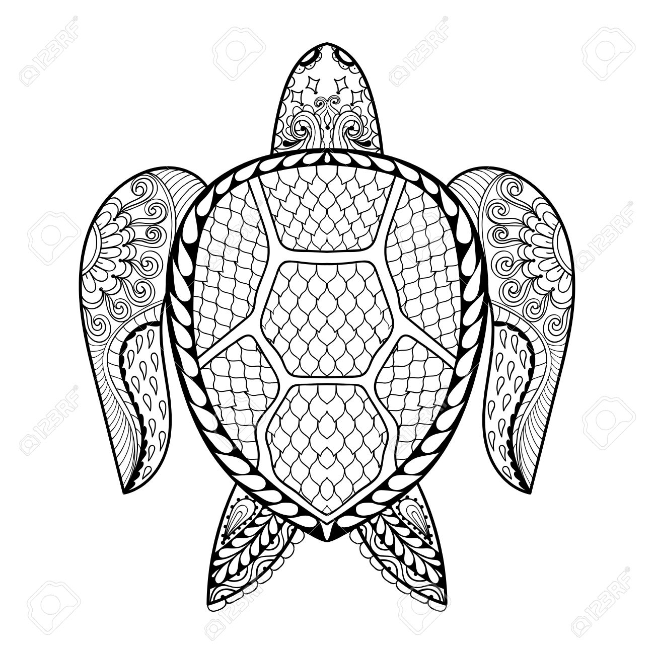 1299x1300 Hand Drawn Sea Turtle Mascot For Adult Coloring Pages In Doodle