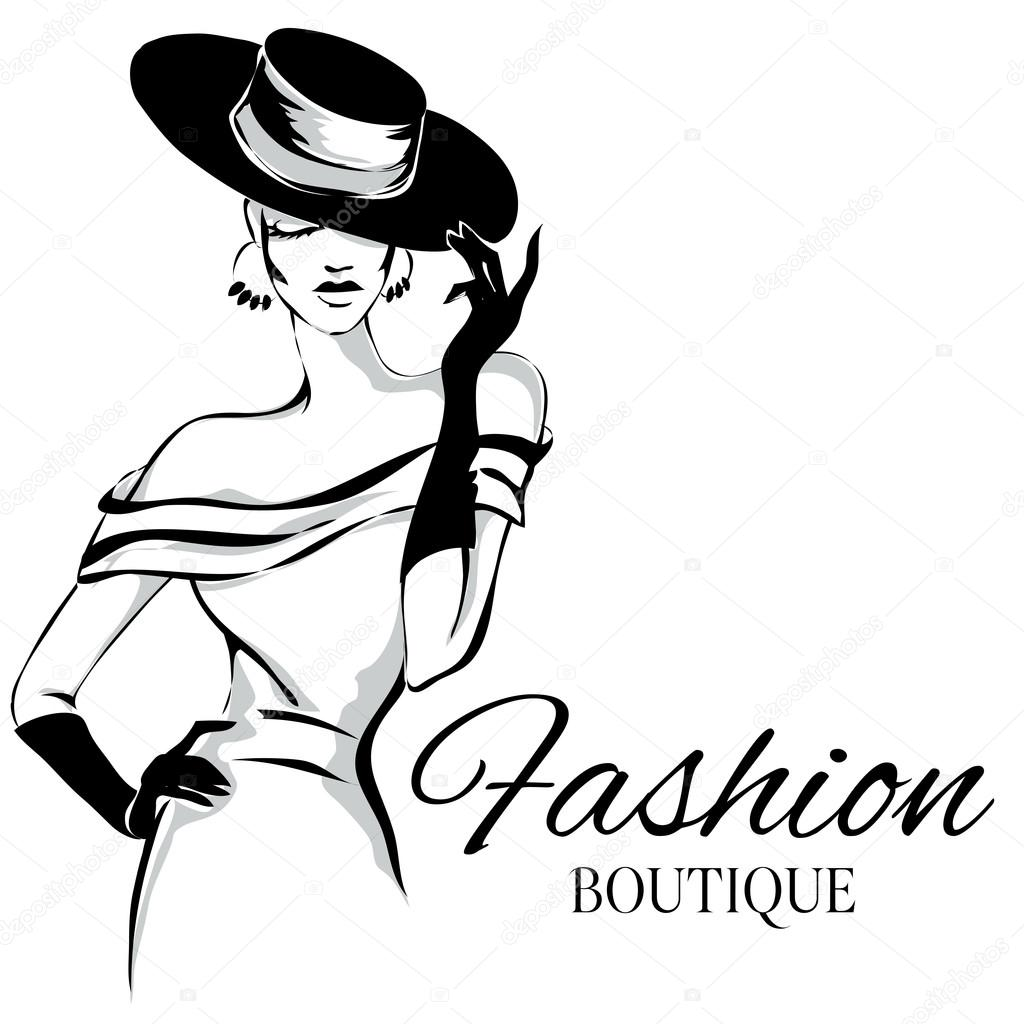 1024x1024 Fashion Boutique Logo With Black And White Woman Silhouette Vector