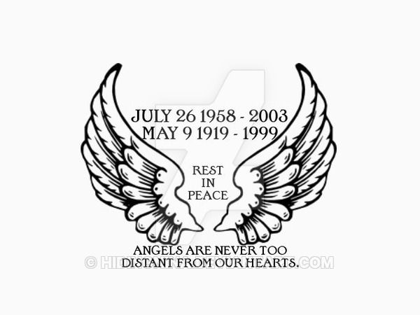 600x450 Angel Wings Memorial Tattoo Designs Memorial Black Angel Wings