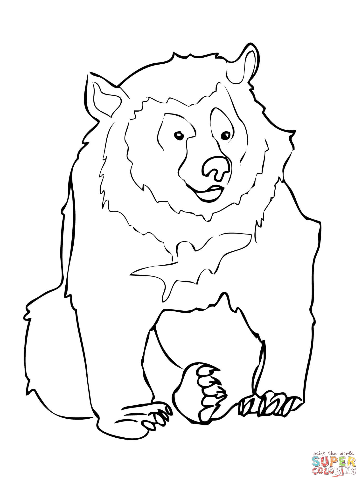 1500x2000 Asiatic Black Bear Coloring Page Free Printable Coloring Pages