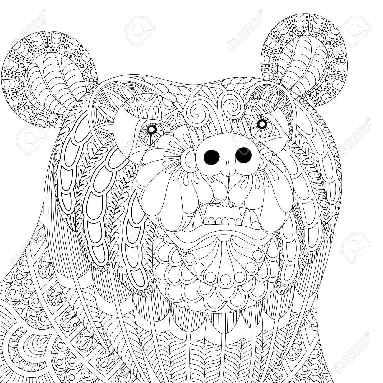 1300x1300 Vector Zentangle Bear Head For Adult Anti Stress Coloring Pages