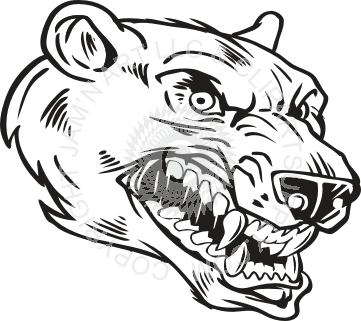 361x321 Bear Head In Black Amp White