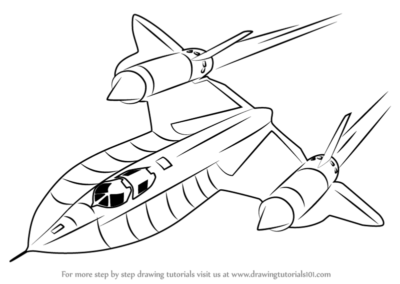 800x567 Learn How To Draw Lockheed Sr 71 Blackbird (Fighter Jets) Step By