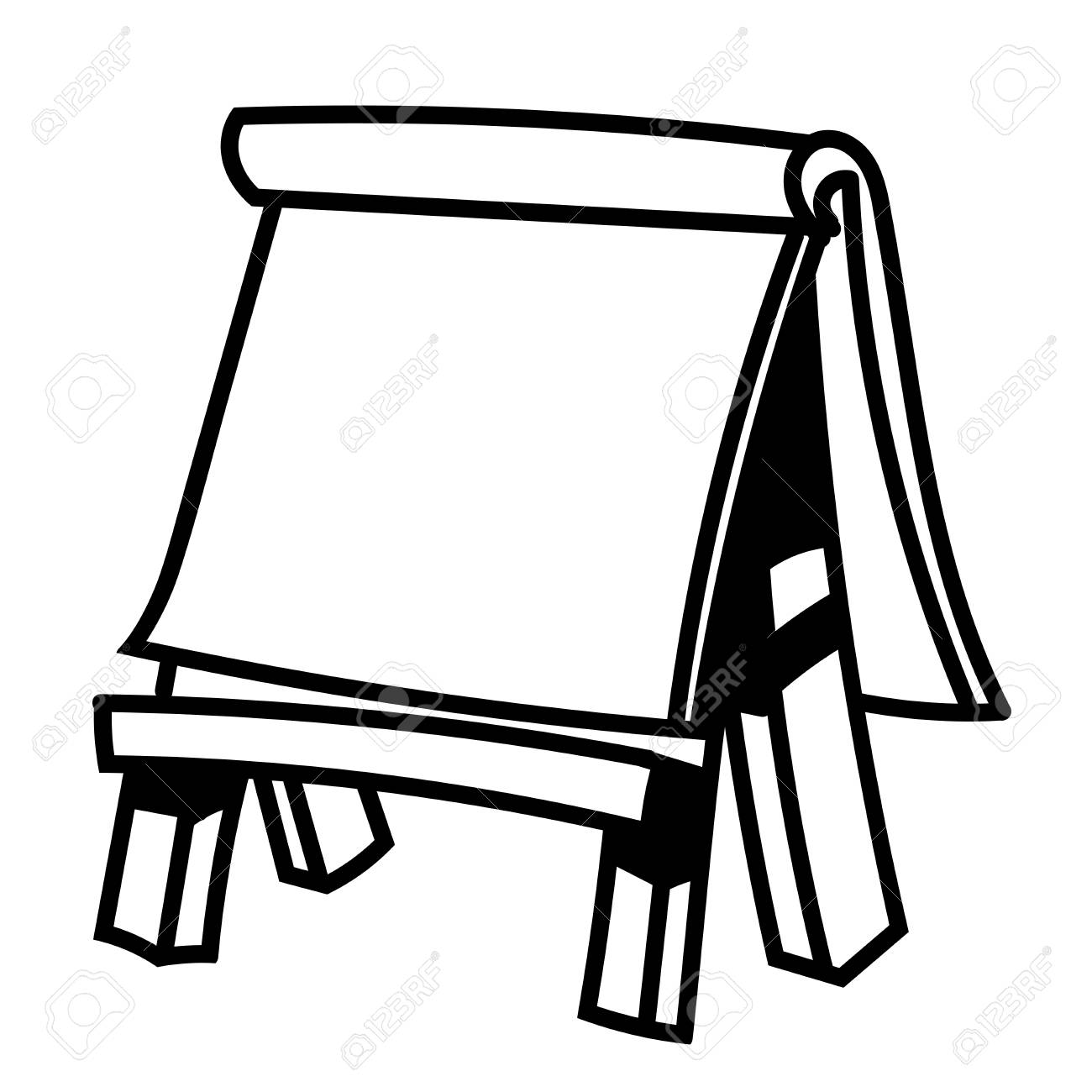 1300x1300 Hand Drawn Sketch Of Paper Board On Wooden Easel, Black And White