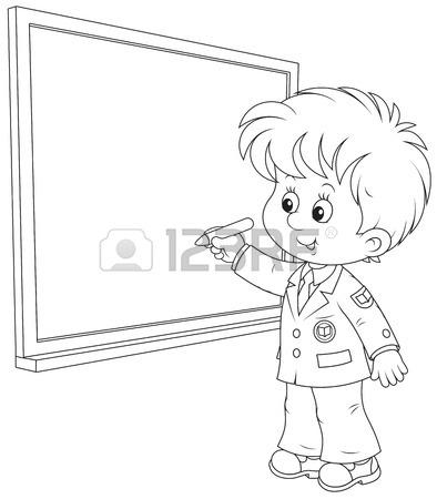 394x450 Schoolboy Writes On The Blackboard With Chalk Royalty Free