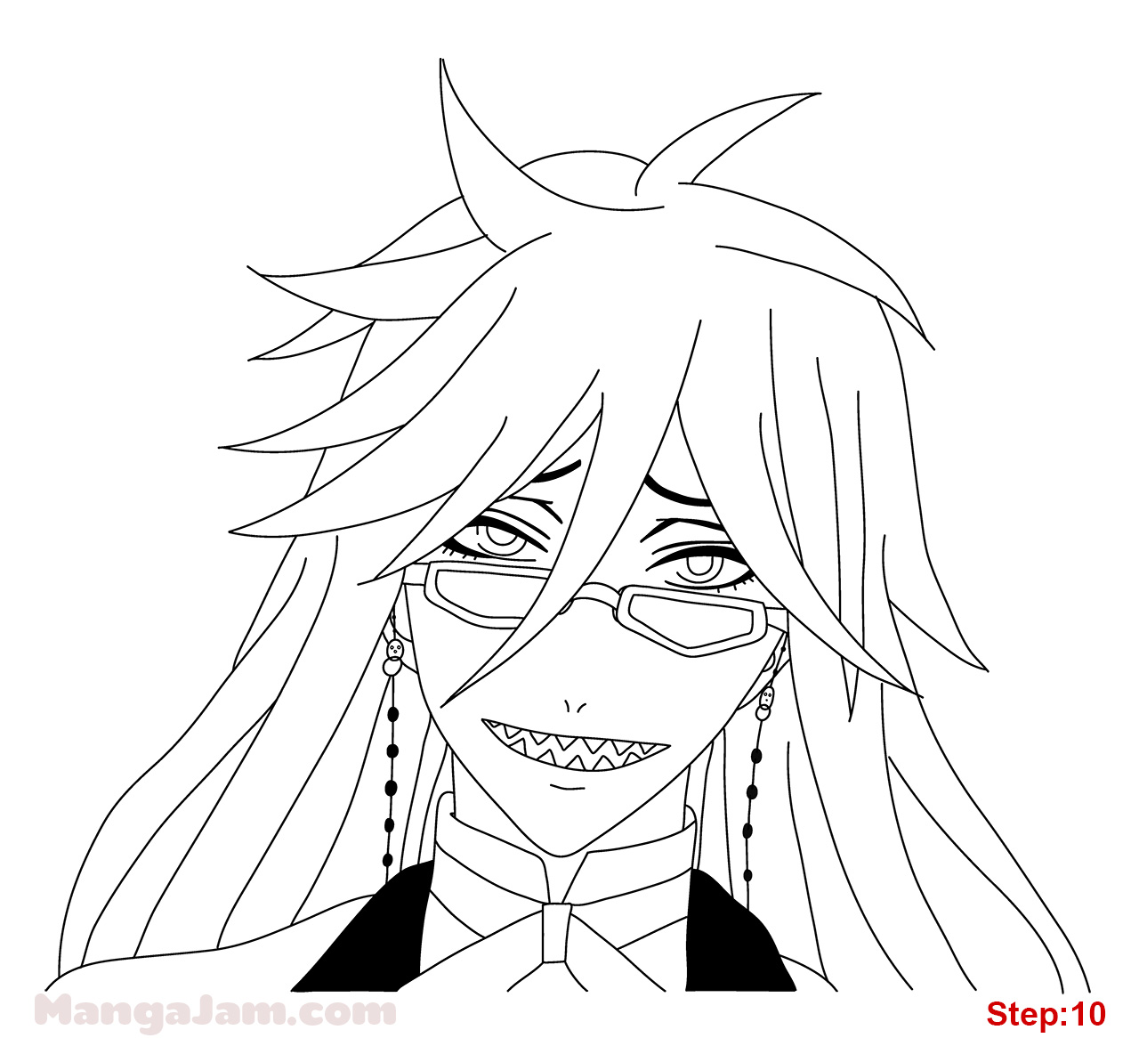 1280x1166 How To Draw Grell From Kuroshitsuji Step 10 Crafts