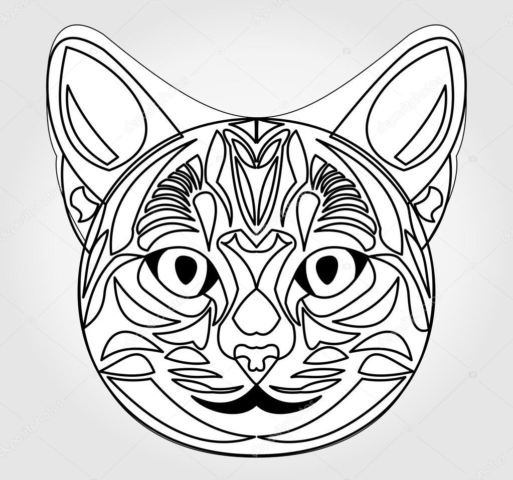 1023x958 Cat Head Drawing. Symbol Of Sun God. Egyptian Mythology Symbol