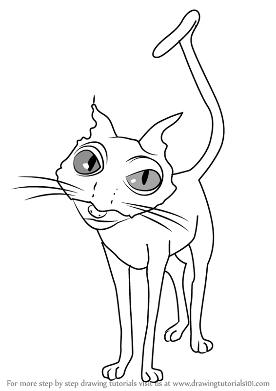 566x800 Learn How To Draw Cat From Coraline (Coraline) Step By Step