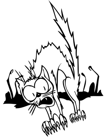 371x480 Scared Cartoon Black Cat Coloring Page Free Printable Coloring Pages
