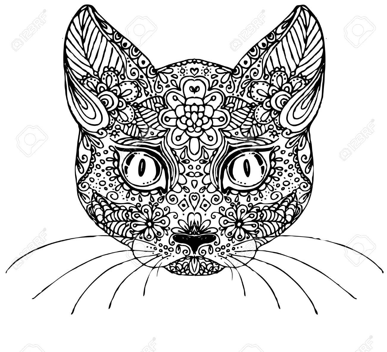 1300x1182 Hand Drawn Doodle Cat. Sketch For Adult Antistress Coloring Page