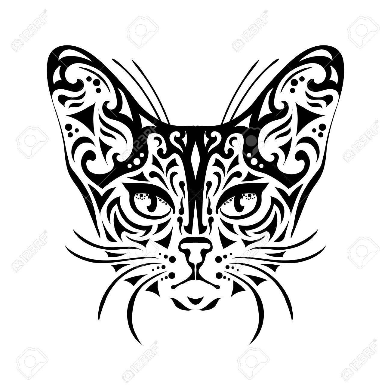1300x1300 Ornamental Decorative Isolated Black Cat's Muzzle On A White