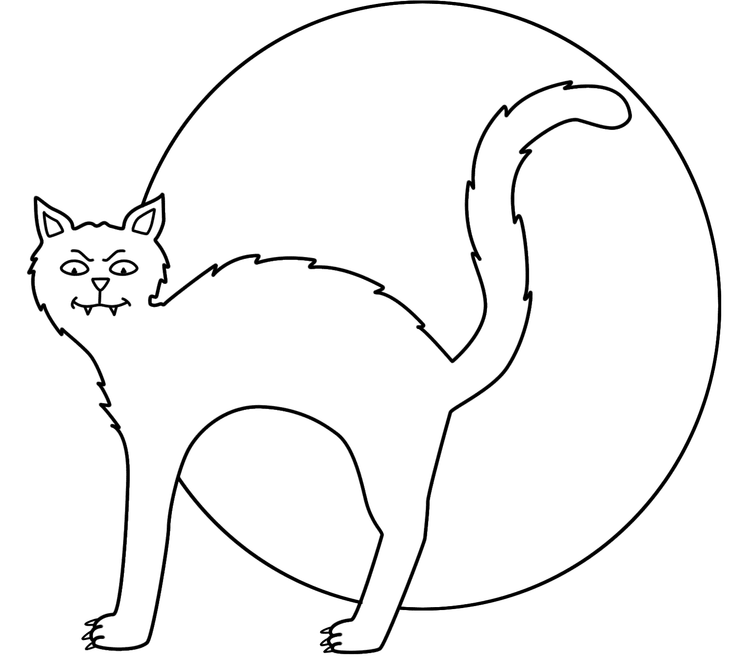 scary black cat coloring pages | Black Cats Drawing at GetDrawings.com | Free for personal ...