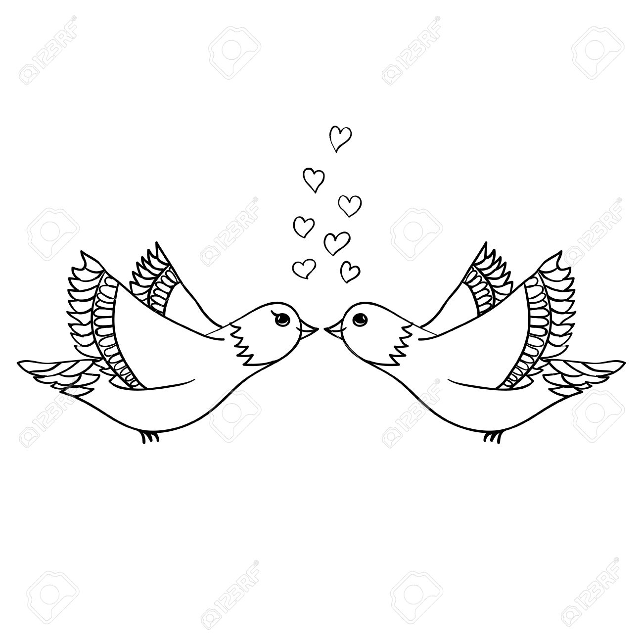 1300x1300 Vector Hand Drawn Couple Of Birds In Love. Black Sketch On White