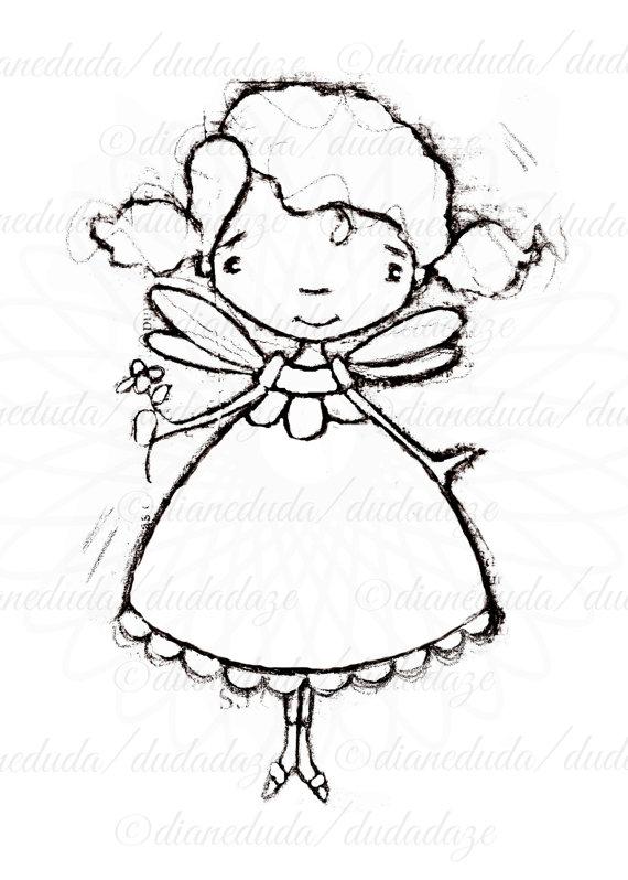 570x798 Black Eyed Susan Flower Fairy Digital Stamp
