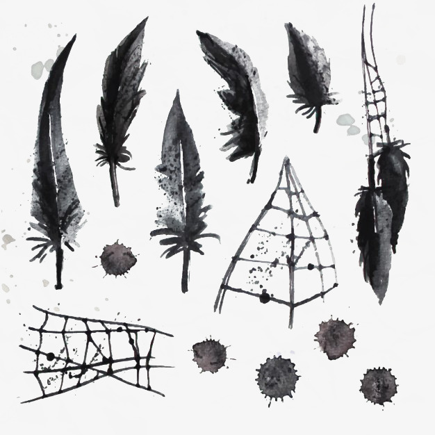 626x626 Painted Black Feather And Cobwebs, Feather Brush, Feather, Hand