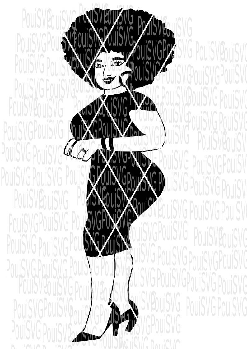 794x1123 Afro Lady Svg, Full Body Svg,silhouette Svg,black Girl Hair ,afro