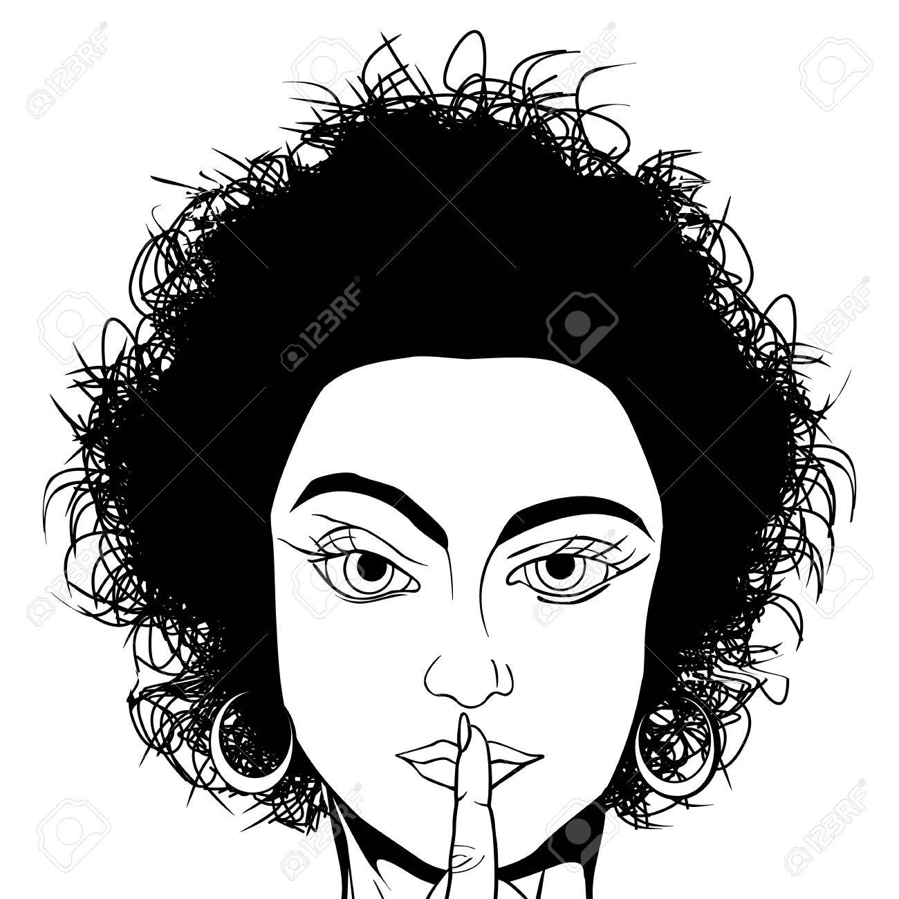1300x1300 Comic Style Black And White Drawing Of A Girl Requestion Silence
