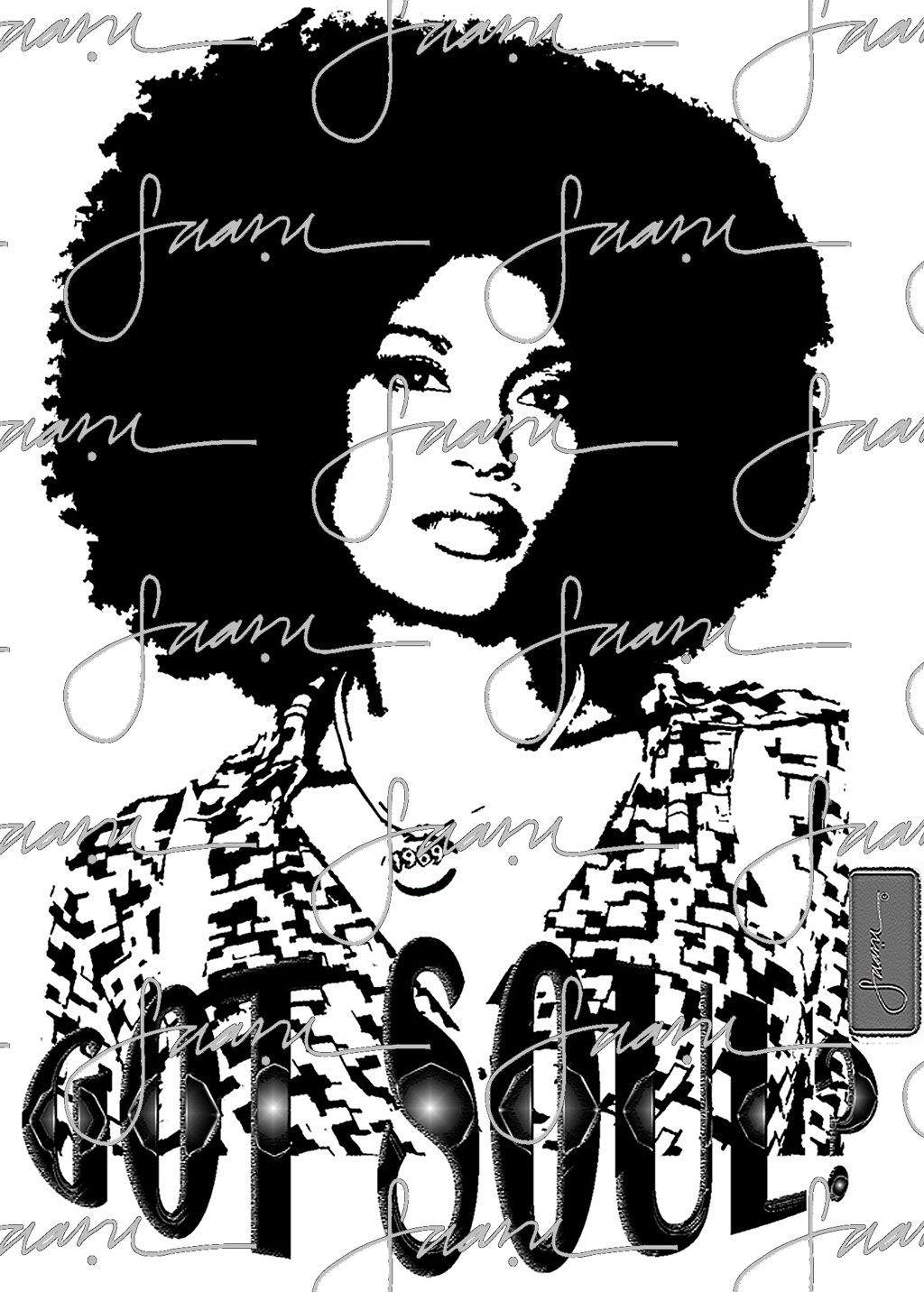 1024x1432 Afro Girl Got Soul Black Amp White Girl Graphic Tee