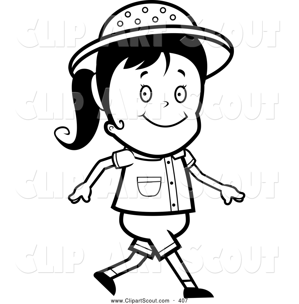 1024x1044 Clipart Of A Black And White Walking Safari Girl By Cory Thoman