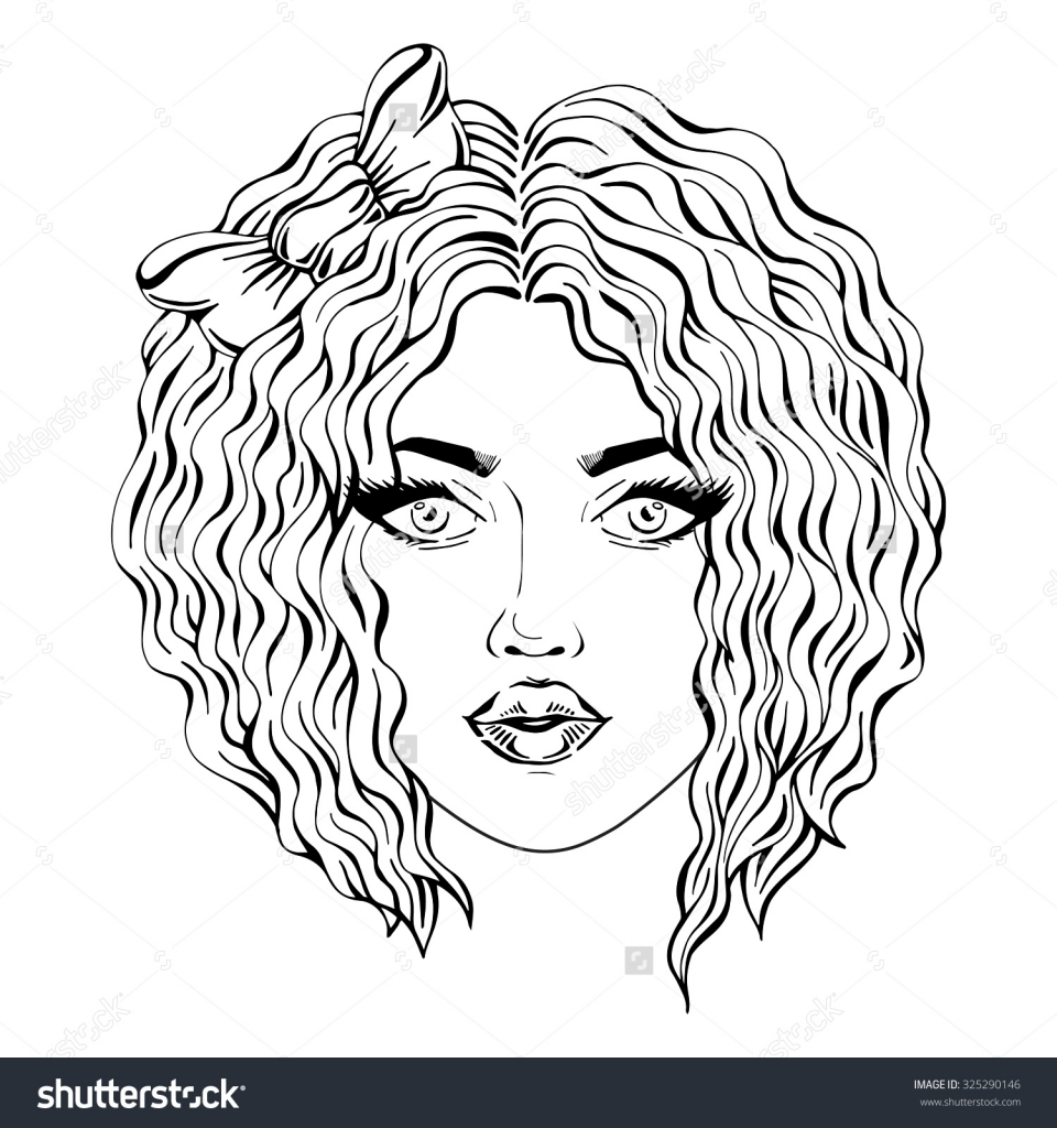 960x1024 Curly Hair Drawing Hand Drawn Girl Face With Curly Hair Black