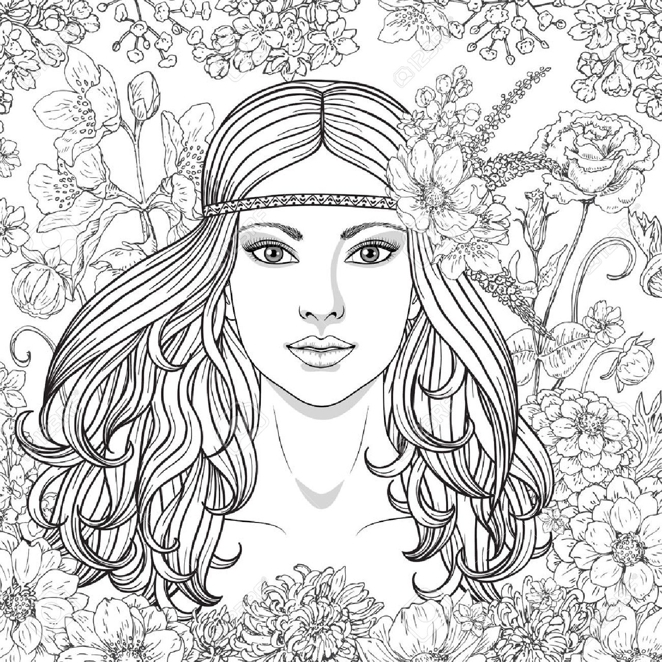 1300x1300 Hand Drawn Girl With Flowers. Doodle Floral Frame. Black