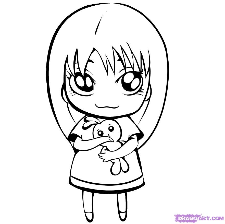 882x877 How To Draw A Cute Girl, Step By Step, Figures, People, Free