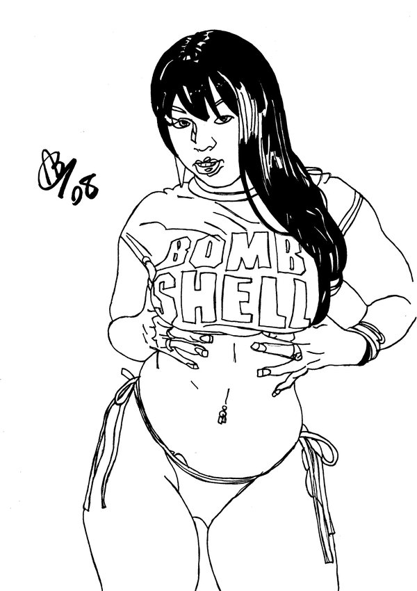 600x850 Sexy Black Girl Ink Drawing By Alexbaxthedarkside