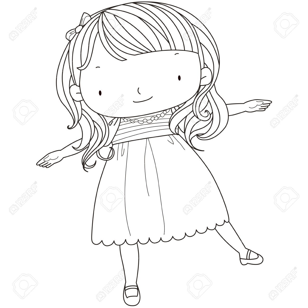 1300x1300 Black And White Cute Girl Drawing