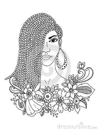 340x450 Vector Illustration Zentangl Portrait African American Woman