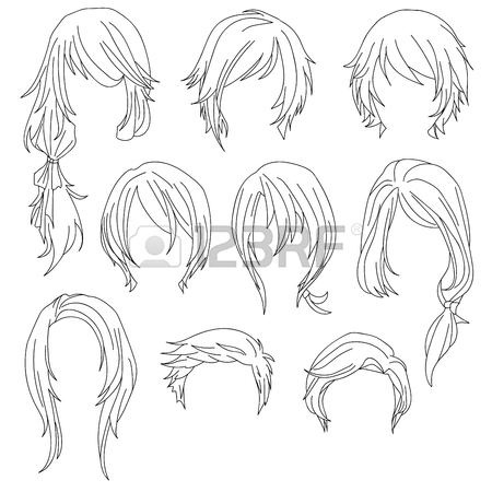 450x450 Hair Styling For Woman Drawing Set 2. Illustration Isolated