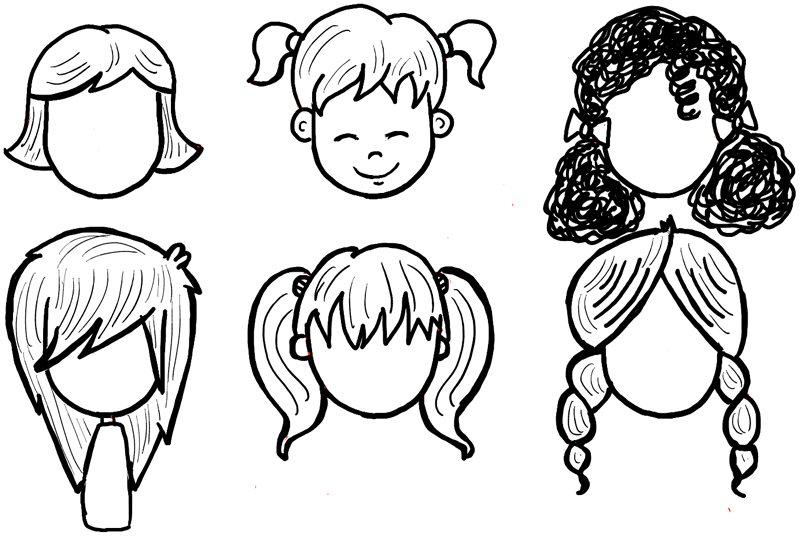 800x541 How To Draw Girls Hair Styles For Cartoon Characters Drawing