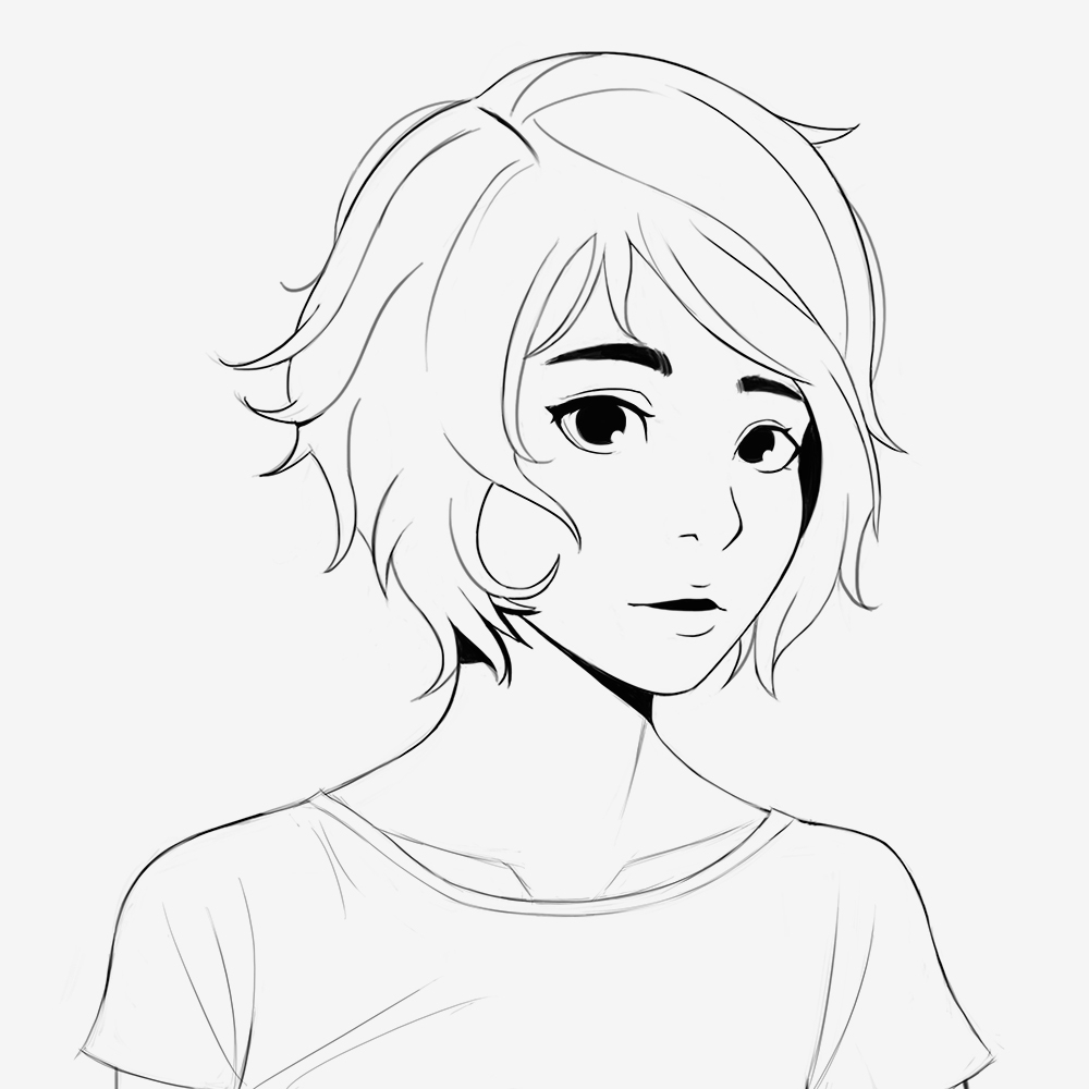 1000x1000 Short Hair Girl Drawing Ella! [Sketch] Short Hair By Ciov