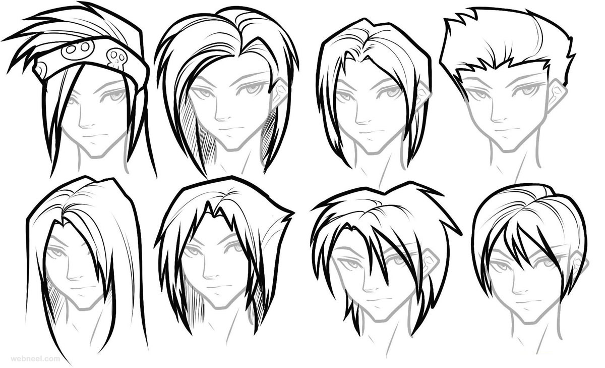 1200x729 Draw Anime Male Hair 22