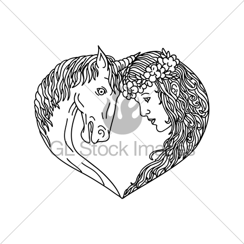 500x500 Unicorn And Maiden Heart Drawing Gl Stock Images