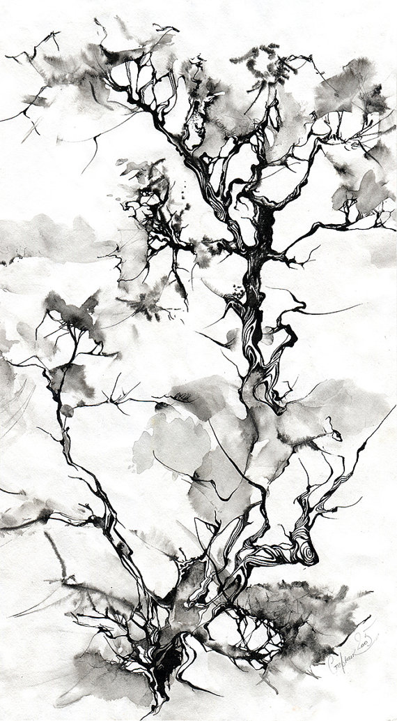 570x1033 Black Ink Drawing Tree Black Ink Drawing Print Ink